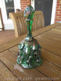 Fenton Green Carnival Glass Bell