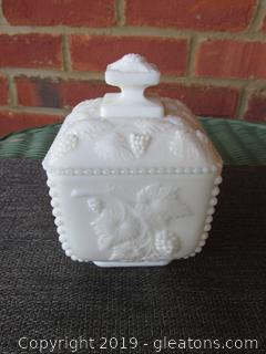 Westmoreland Milk Glass Paneled Grape Bowl & Lid When these were made they were called Square Puff Box