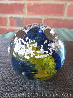 Beautiful Cobalt Blue , Yellow, & White  Signed Paperweight R 99 Also imprinted With R