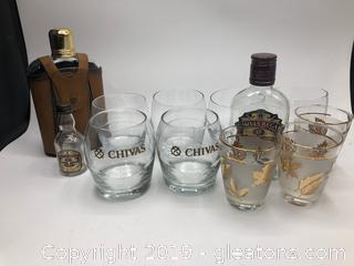 Chivas Lot and 1-Flask with Leather