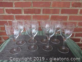 Set of 8 Clear Wine Goblets 7 1/4 inches tall * Holds 9 ozs * Has a Etched Flora Design