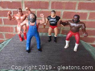 4 Vintage Titan Sports Rubber Wrestling Figurine 1984,1984, 1985, 1986 / Well Played With