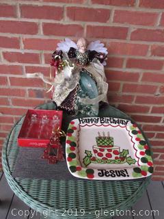 Happy Birthday Jesus Cake Plate,3  Icicle Angels Ornament, 1 Metal Tree Ornament, Fiber Optic Angel Figurine (not tested needs plug)
