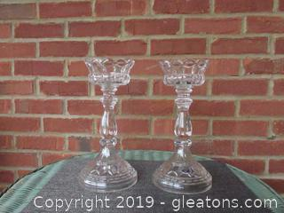 Pair of Extra Large Bohemia Lead Crystal Candle Stick Holders  11 1/4 inches tall / 5 1/2 Diameter at the Base