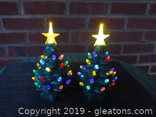 A Pair of  7 3/4 inches tall Ceramic Lighted Christmas Trees Battery Powered (Both Tested and Both Work)