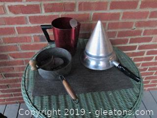 Vintage Kitchen / Wear-Ever Aluminum No 475 Cone Strainer / Turn Masher By Foley Mill Food / Aluminum Water Pitcher