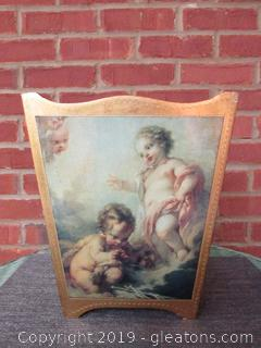 Florentine Gold Gilt with Cherubs  Decoupage Wastebasket 11 1/2 inches tall / 7 1/2 inches deep / 9 3/4 inches at the top long 7 1/4 at the bottom long