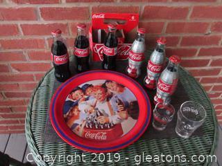 Coca-Cola Girl SoftBall Tray / 2 small Coke Glasses / 6 pack of Coca-Cola 3 Regular Classic Glass Bottles and 3  Sundblom Santa 75th Anniversary 2006 Glass Bottles