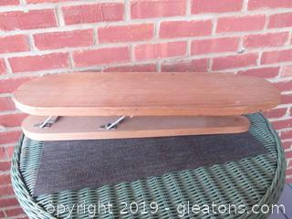 Vintage Primitive Wooden Table Top Iron Board 22 inches long / 7 inches wide / 4 inches tall