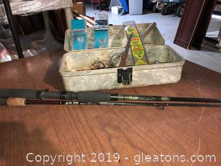 Lot with Fishing Pole and tackle box and tackle