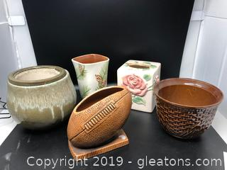 Lot of Vases Urns and Napkin Cover