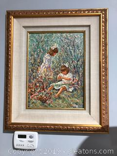 Original Signed Acrylic Painting 2 Girls in flowers