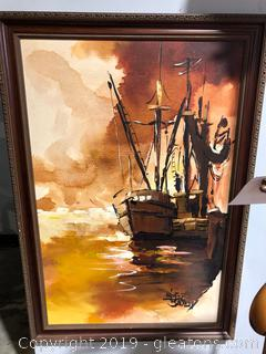 Signed Oil Painting of Ship