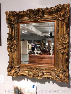 Massive Gold Frame Beveled Mirror