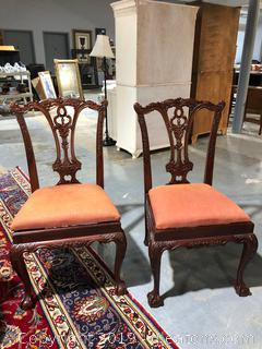 2 Chippendale Upholstered Dining Chairs