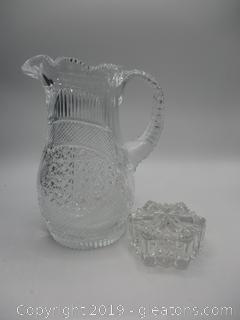 Sawtooth Vase & Glass Trinket Box