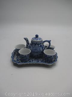Porcelain Blue and White Miniture Tea Set