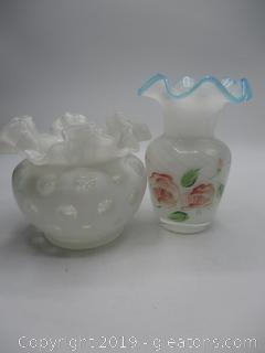 Ruffle Top Vase & Bowl