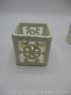 4 Ivory Square Tealight Holders