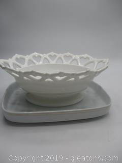 Milk Glass Dish & Rectangular Porcelain Platter