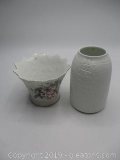 Porcelain Vase W/Roses-Lefton Kalser Bisque Vase