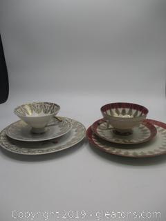 2 Teacups, Saucers, & Dessert Plates
