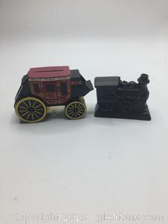 Wells Fargo Bank Porcelain Carraige & Wooden Train