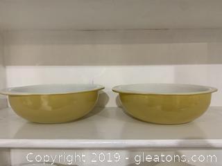 Desert Dawn Pyrex Pair 2 qt Bowls