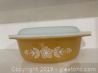 Butterfly Gold Pyrex Lidded Casserole