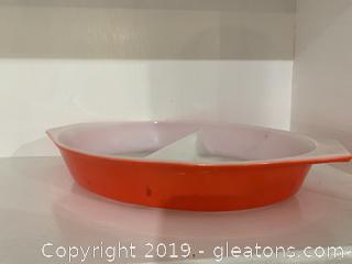 Friendship Red Divided Dish Pyrex