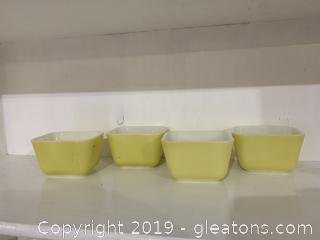 Yellow Pyrex Refridgerator Set of 4