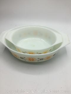 Pyrex Town and Country Print Orange and Brown