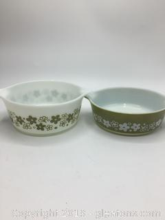 Pyrex Spring Blossom Crazy Daisy Green + White and White and Green