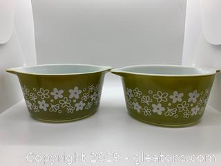 Spring Blossom Pyrex Bowls Set of 2