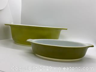 Verde Green Pyrex Casserole Dishes