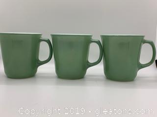 Green D Handle Mugs Set of 3