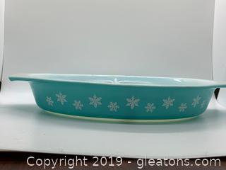 Snowflake Turquoise Pyrex Divided Dish