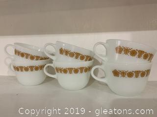 Butterfly gold Mugs, Set of 6