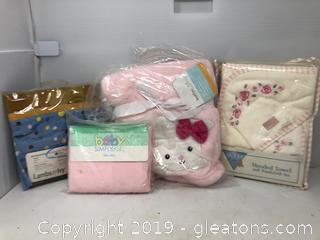 New Born Lot of Blanket Sheet for Crib Towel and Wash Cloth Set Valance