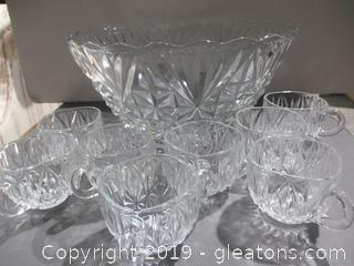Cut Glass Punch Bowl W/8 Cups