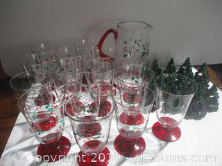 Christmas Pitcher, Glasses and Napkin Holders