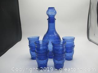 Royal Blue Decanter with 8 Small Glasses