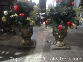 Christmas Decor in Urn Planter
