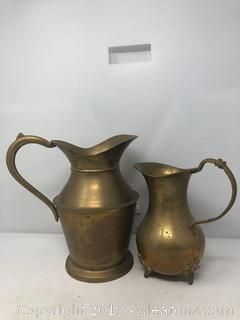 Brass Lot of Pitchers