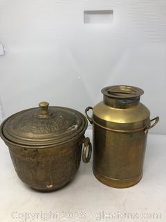 Lot of Brass Pots with Lids