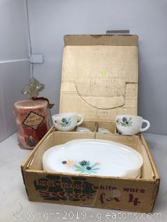 Lot of White Ware Still in Box and Three Tupper Ware Containers by Bisscraft