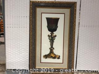 Framed & Matted Decorative Urn in a Bronze and Gold Frame
