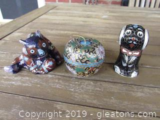 Vintage Chinese Cloisonne / Apple Trinket Box / Puppy Figurine / Panda Bear Figurine