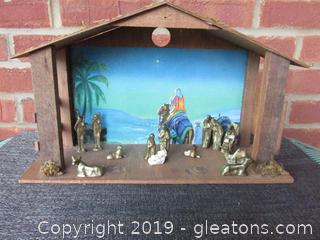 Nativity With Stable Miniature Solid Brass Figurines Except for Baby Jesus Which is Porcelain See All Photos