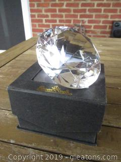 Rosenthal Crystal Diamond Shape Paperweight with Box